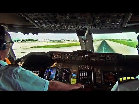 Boeing 747 Cockpit View - Take-Off from Miami Intl. (MIA)