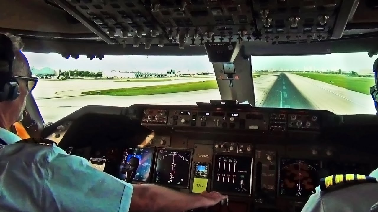 Boeing 747 Cockpit View - Take-Off from Miami Intl.