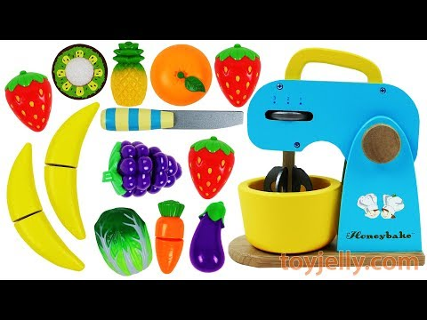 Thumbnail: Learn Fruits & Vegetables with Toy Mixer Playset & Wooden Velcro Toys for Kids Preschoolers Rhymes