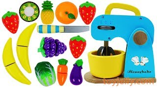 Learn Fruits & Vegetables with Toy Mixer Playset & Wooden Velcro Toys for Kids Preschoolers Rhymes