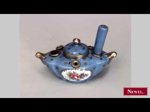 Antique French Victorian blue Sevres porcelain Aladdin