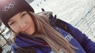 Rowan Cheshire , a British freestyle skier on halfpipe at Winter Olympics in Pyeongchang