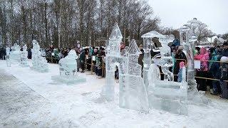 Человек собаке друг! Конкурс ледяных скульптур. Череповец