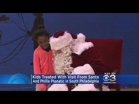 Kids Meet Santa, Phillie Phanatic In South Philly