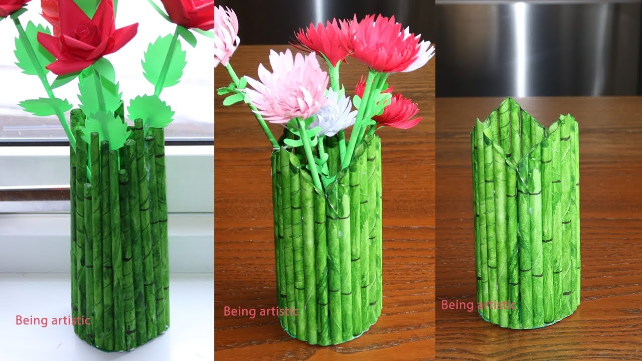 YouTube & How To Make A Paper Flower Vase/Pen Stand - DIY Simple Paper Craft