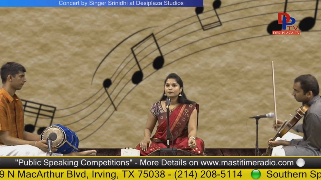 Part.1 Srinidhi  giving Carnatic music concert at Desiplaza Studio,Irving,Texas