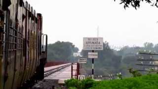 Indian Railways - Crossing the Narmada River.with YDM4...