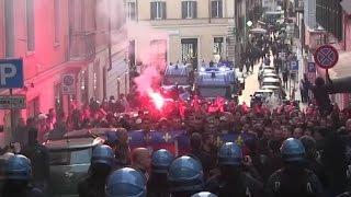 AS Roma - Lyon fans cortege in Rome