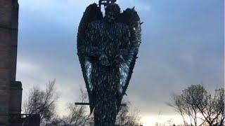 'Knife Angel' in Liverpool highlights UK knife crime