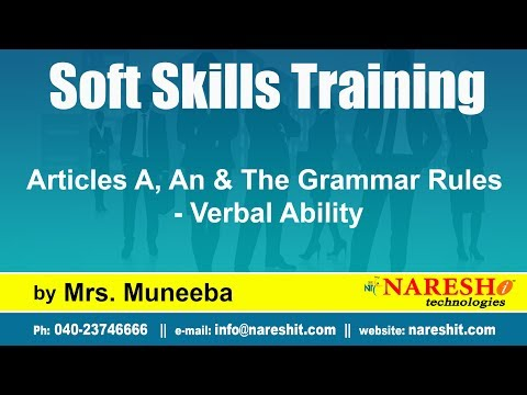 Articles A, An & The Grammar Rules - Verbal Ability | Soft Skills Training