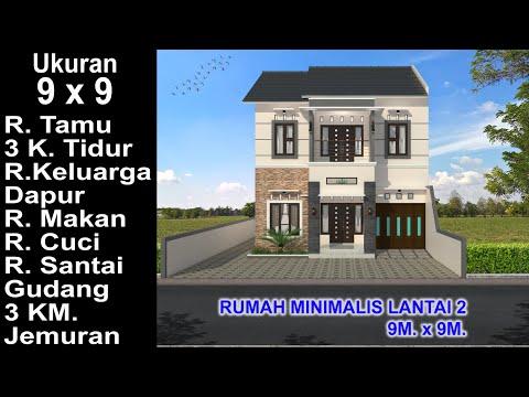 modern house 9x9. 3 k. tidur. desain rumah minimalis