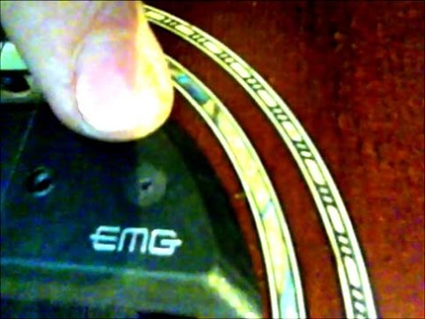 EMG guitar pickup installation on washburn acoustic guitar - YouTube