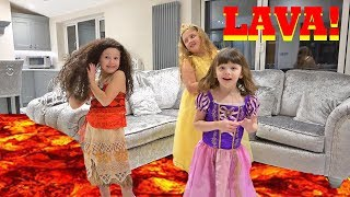 FLOOR IS LAVA GAME With Disney Princess Moana Rapunzel and Belle!!