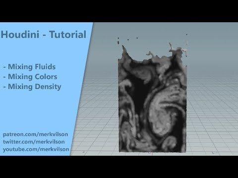 Mixing Fluids & Colors (No Vex/No coding) - Houdini quick tip