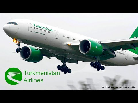 Turkmenistan Airlines Boeing 777 approach & landing at Heath