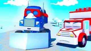 Трансформер Карл и Снегоочиститель в Автомобильном Городе| Мультик про машинки и грузовички