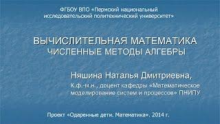Няшина Н.Д. Вычислительная математика. Численные методы алгебры