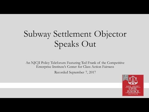 Subway Settlement Objector Speaks Out
