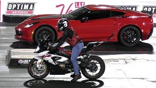 Bikes vs Cars - drag race - Redeye Hellcat,Z06 Corvette,Kawasaki Ninja,BMW 1000RR