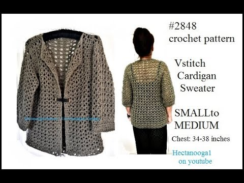 Crochet Pattern V Stitch Cardigan Sweater Small To Medium 34 38