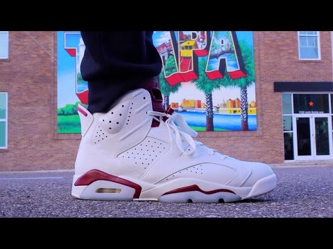 NIKE AIR JORDAN 6 MAROON ON FEET YouTube
