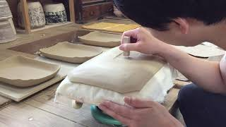 【porcelain】Make a large rectangular plate /【陶芸】長方皿(大)の制作