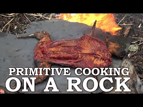 CAVEMAN COOKING on STONE OVEN | Rabbit SINGE in the FOREST | PRIMITIVE SHELTER BUILD