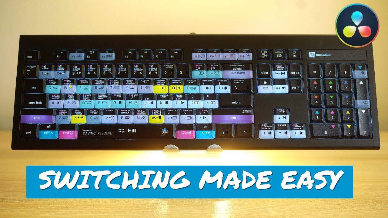 Logickeyboard Davinci Resolve 16 Astra Backlit Keyboard Youtube