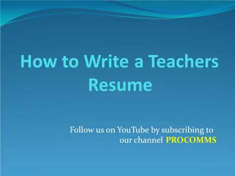 How To Write a teacher Resume Teachers Resume Tips for Teachers