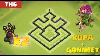 Clash of Clans - 6.Seviye Köy Düzeni Savunma (CoC TH6) En İyi HYBRID Düzeni [GANIMET+KUPA]