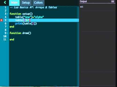 Codea Tutorials #007--Arrays & Tables in Lua, iPad Programming