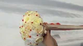 BROOCH BOUQUET / БРОШЬ БУКЕТЫ, из лент, ткани , букет невесты.