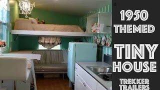 FIFTIES themed TINY HOUSE has a Folding Half-Loft!