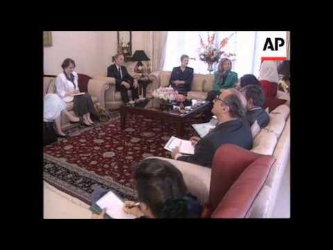 Pakistan  Hillary Clinton Meets Benazir Bhutto