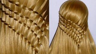 Коса  ВОДОПАД. Причёска с плетением. Оригинальное плетение косички(Красивая причёска на 1 сентября в школу. Оригинальное плетение косички. Если заплести несколько рядов, то..., 2015-01-27T22:26:06.000Z)