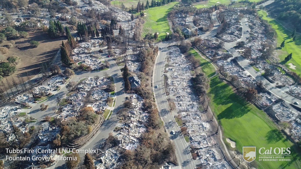 Aerial View of Wildfire Devastation from Tubbs Fire in Fountain Grove