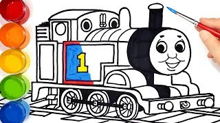 How to draw Thomas train . learn colors easy drawing painting coloring pages for kids Tim Tim TV
