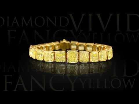 Natural Fancy Vivid Yellow Diamond Bracelet 55 66 carats from M.S. Rau Antiques