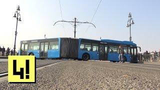 Keresztbe állt egy csuklós busz a Margit-hídon