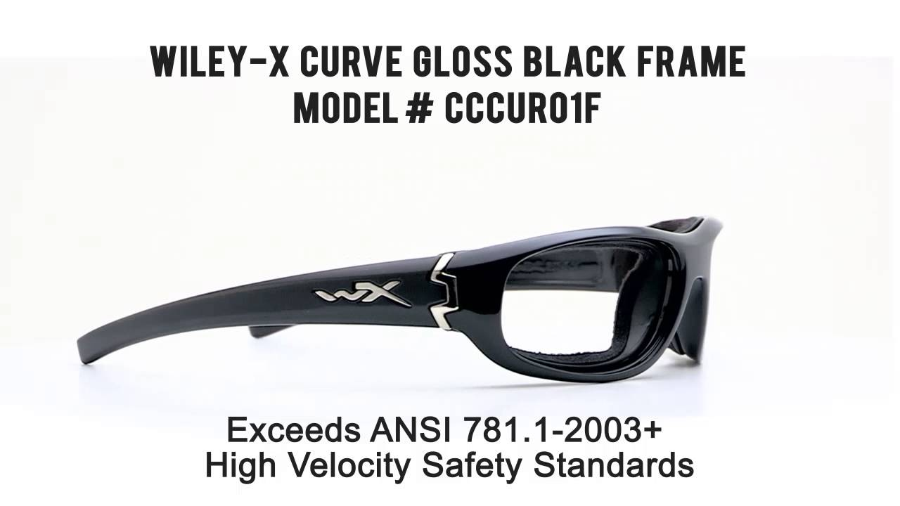 1e760324862 RX SAFETY Wiley X Curve Gloss Black - YouTube