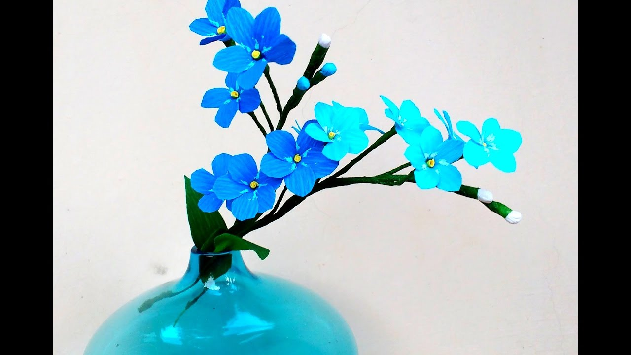 How to make paper flowers forget me not myosotis flower 153 how to make paper flowers forget me not myosotis flower 153 ccuart Image collections