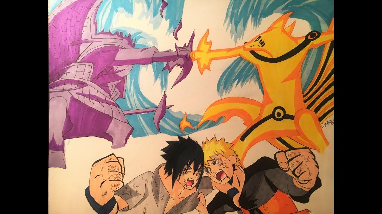 Como Dibujar A Naruto Vs Sasuke Batalla Finalhow To Draw Naruto Vs Sasuke Final Battle