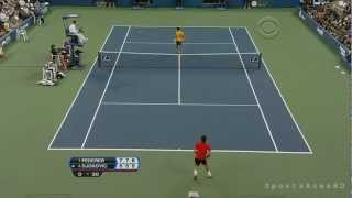 US Open 2009: Roger Federer's Incredible Between the Legs Shot against Novak Djokovic HD