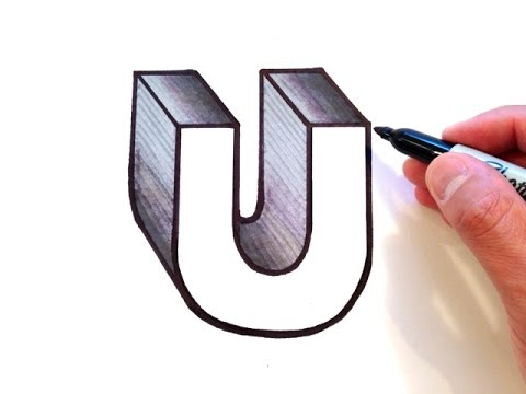 how to draw the letter u in 3d youtube. Black Bedroom Furniture Sets. Home Design Ideas