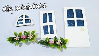 diy miniature window plant and door for doll house mini house