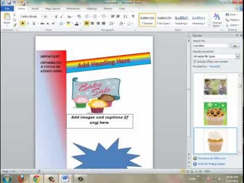 HOW TO MAKE A FLYER USING MICROSOFT WORD 2010 - YouTube