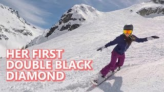 Her First Double Black Diamond Snowboarding