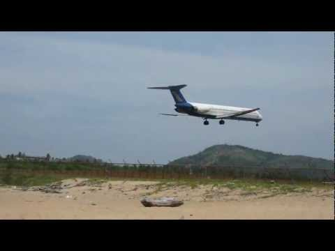 Low approach and landing to Phuket Airport VTSP, Orient Thai,McDonnell Douglas MD-81