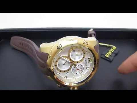 ebaadafe86c Relógio Masculino Magnum MA33755B Dourado Extra Grande Cronógrafo 100M  (Detalhes) - YouTube