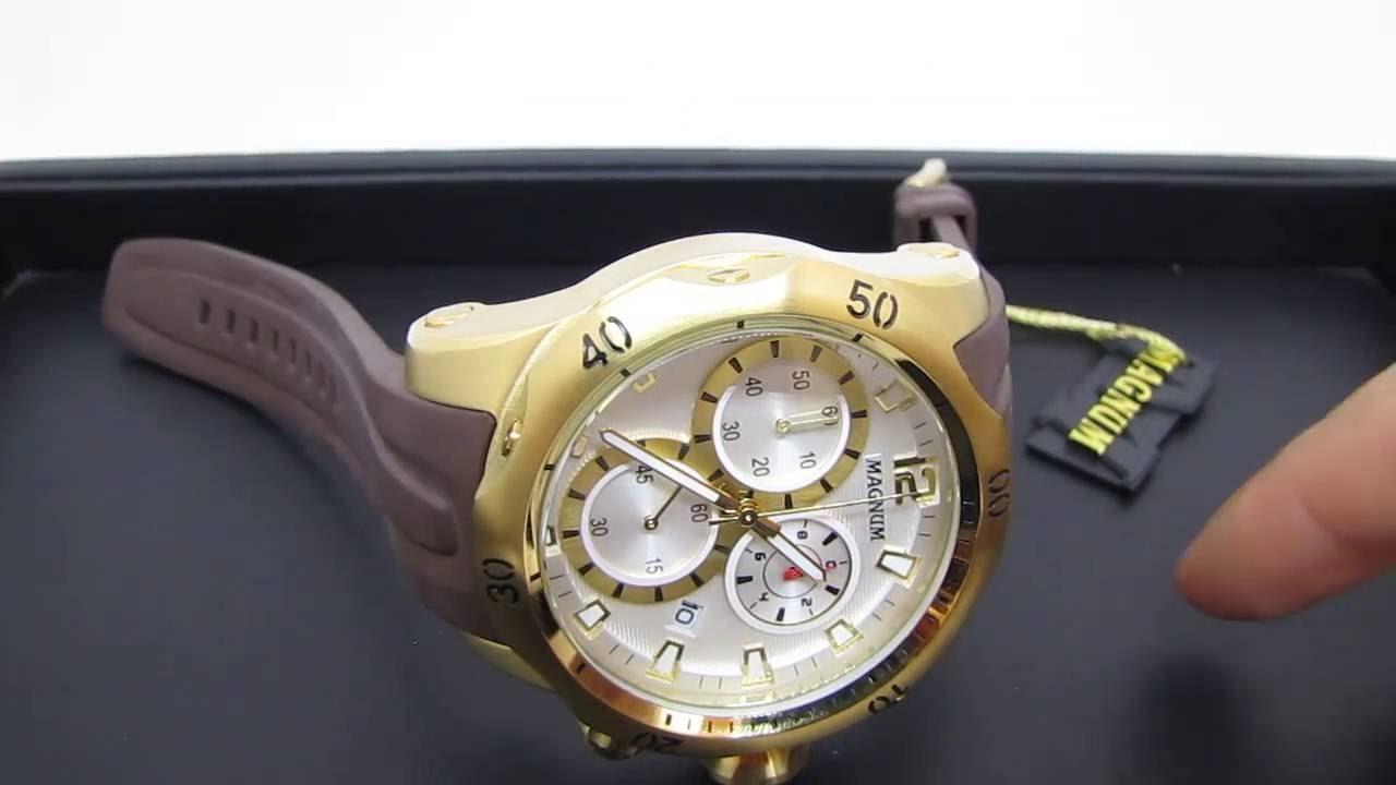 cabedc86a5b Relógio Masculino Magnum MA33755B Dourado Extra Grande Cronógrafo 100M  (Detalhes) - YouTube